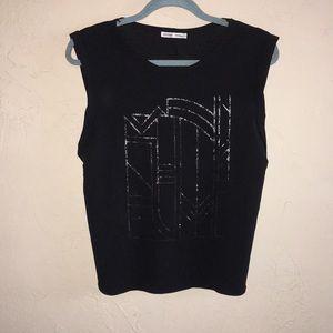 Zara - WB collection - black sleeveless beaded top